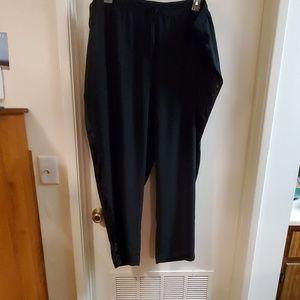 Wide leg drawstring waist tuxedo stripe pant